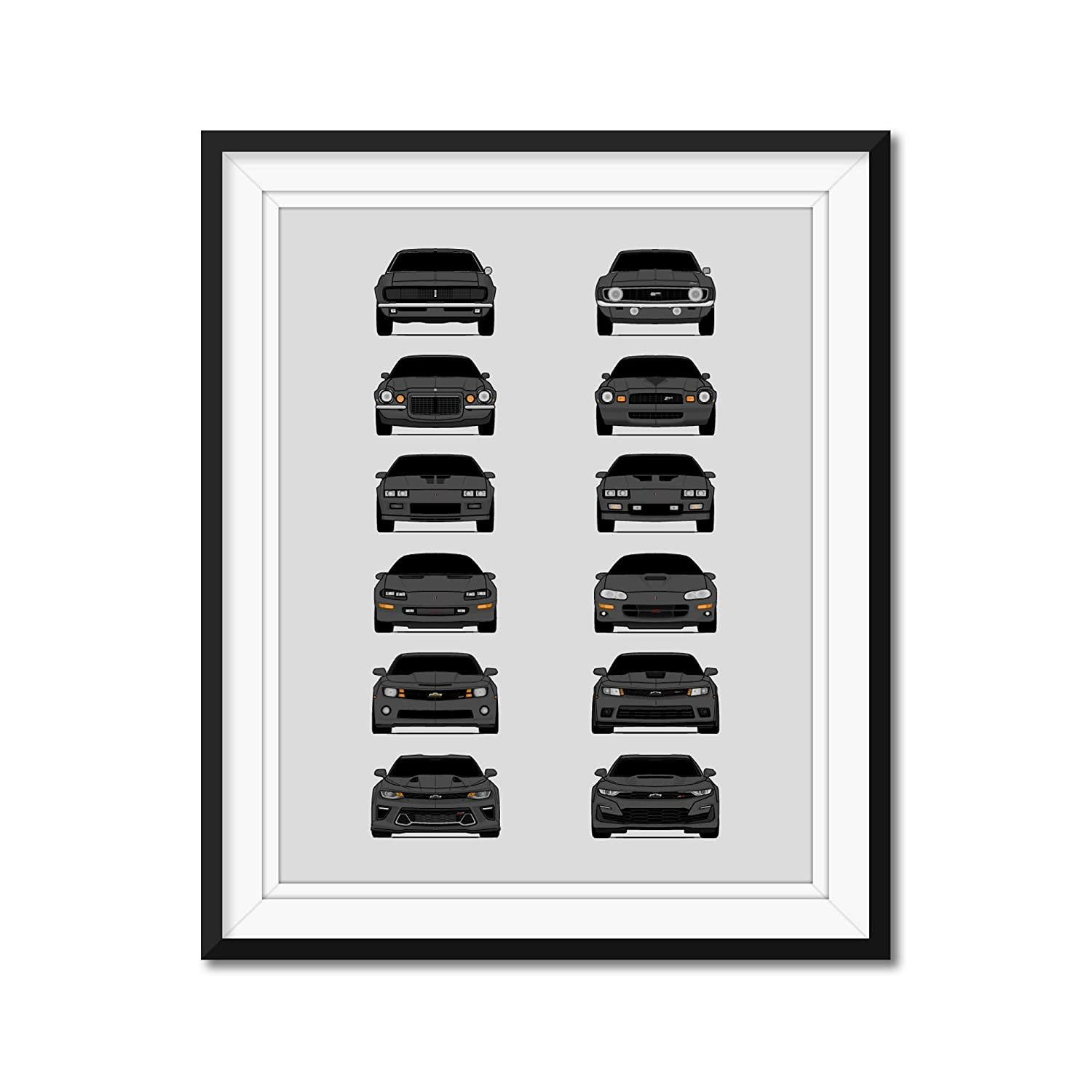 Chevy Camaro Generations San Antonio Mall excellence 1967-Present Poster Print Wa Inspired