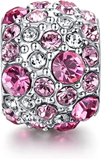 i'ange's Pink Crystal Bead Charms, 925 Sterling Silver Dangle Charms for Bracelets Starlight Series Pink
