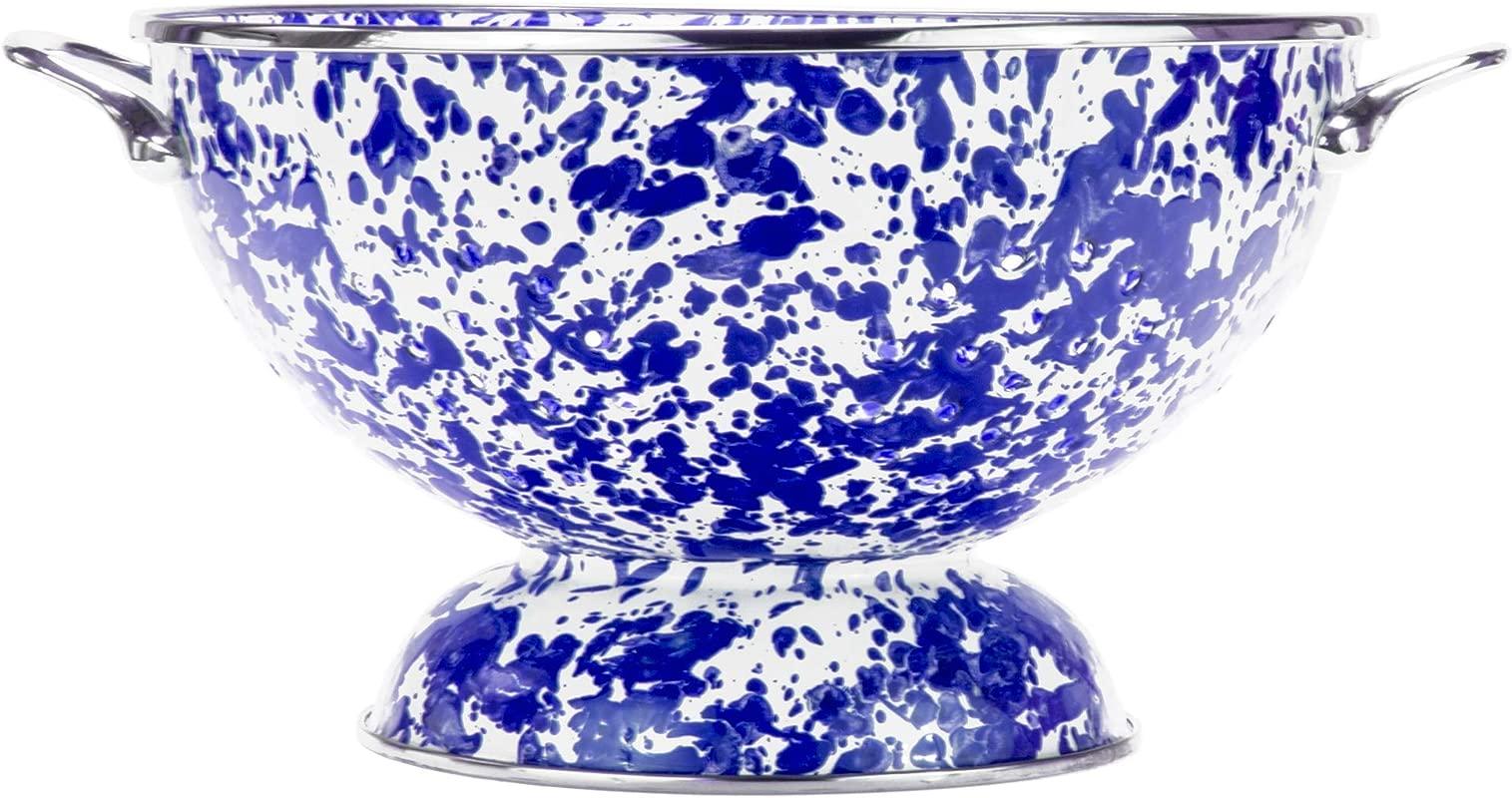 Golden Rabbit Enamelware Cobalt Blue Swirl Pattern 2 Quart Large Colander