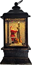 Gerson 9 Lighted Acrylic with Continuous Spinning Water Glitter- Santa Decorating Tree-
