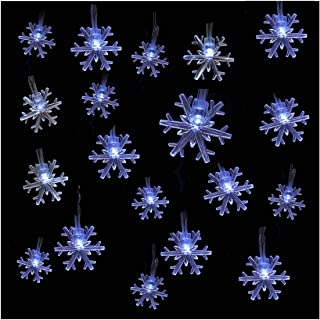 Szxc Snowflake String Lights - 20 FT 40 Led Lights - Battery Operated - Steady/Flashing - Christmas Decorations Indoor (Wh...