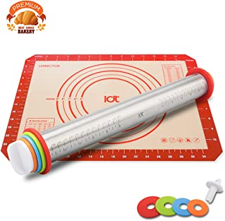 Rolling Pin, Silicone Baking Pastry Mat Set, Stainless Steel Adjustable Rolling Pins, With Baking Mat 4 Thickness Rings, Measuring Dough Roller For Fondant, Pizza, Macaron, Pasta, Cookies