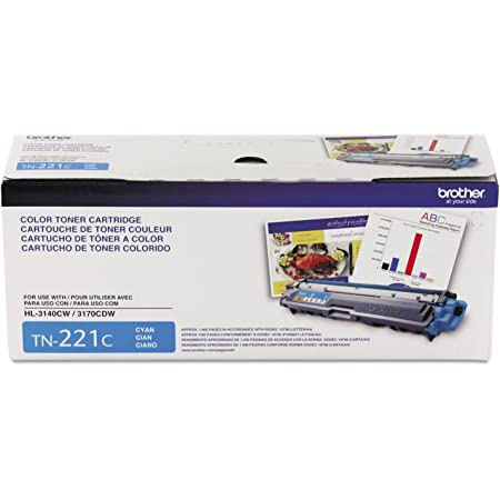 Brother Genuine Standard Yield Toner Cartridge, TN221C, Replacement Cyan Color Toner, Page Yield Up To 1,400 Pages, Amazon Dash Replenishment Cartridge, TN221