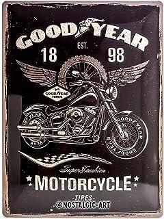 Nostalgic-Art Goodyear – motorcykel – presentidé för bil- och motorcykelfläktar, retro plåtskylt, av metall, vintagedekora...