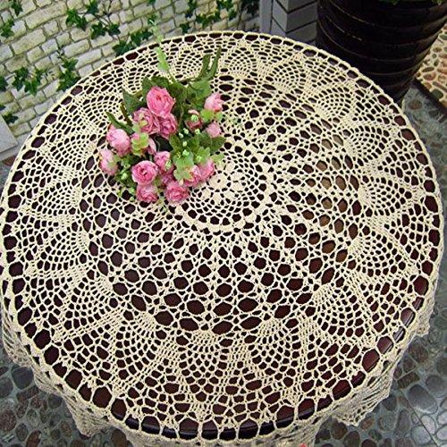 Bureze - Mantel de Crochet de 80 cm, Color Blanco