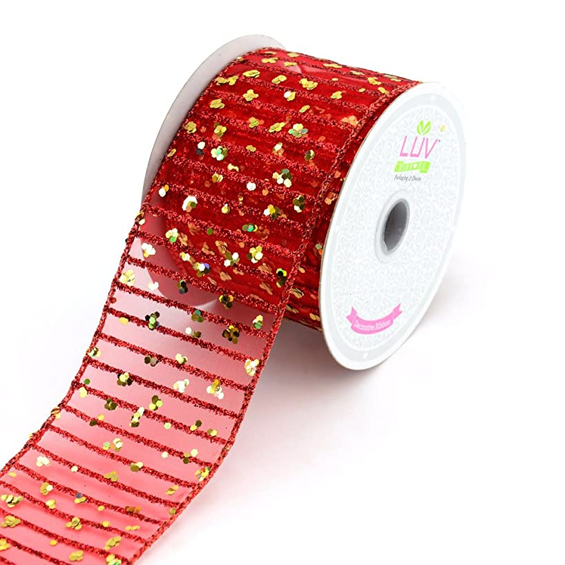 LUV RIBBONS by Creative Ideas 2-1/2-Inch Laser Dots and Glitter Stripes Ribbon, 10-Yard, Red/Gold