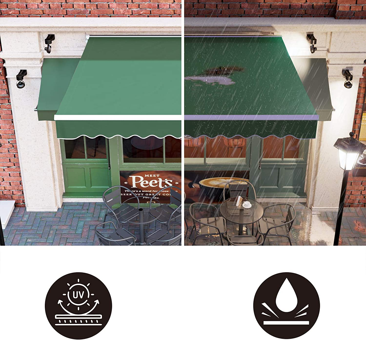 Balcony Water UV//Heat Resistant with Manual Crank Handle Cafe Outdoor Retractable Sunshade Window Door Shelter Pergola GARTIO 10 /× 8FT Patio Awning Canopy Restaurant Shop 10/×8FT for Courtyard