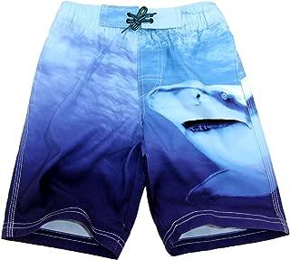 SLGADEN Boys Swim Trunk Drawstring Shark Varied Blue Quick Dry Swimming Beach Shorts