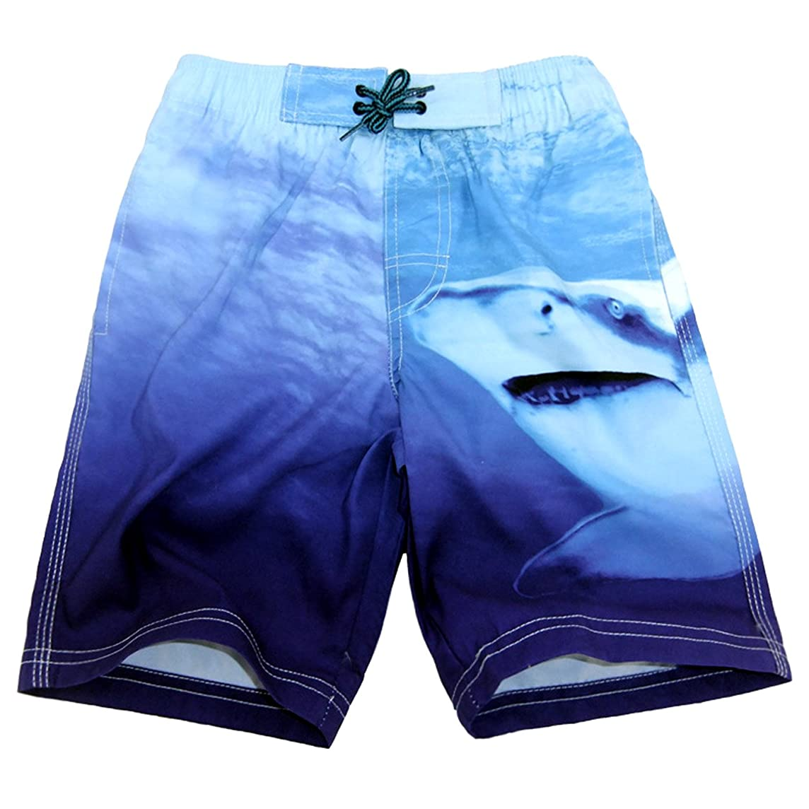Boys Swim Trunk Drawstring Shark Varied Blue Quick Dry Swimming Beach Shorts