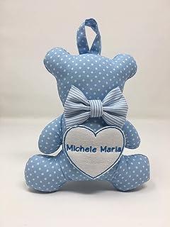 Fiocco nascita Orsetto - Mini orsetto in cotone con nome ricamato - Regalo Neonato a forma di orsetto - Personalizzato con...