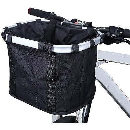 自転車カゴ 自転車用バスケット 折りたたみ式カゴ 防水 サイクリング 巾着式 大容量 耐荷重10kg 耐久性 着脱 黒色 説明書付き
