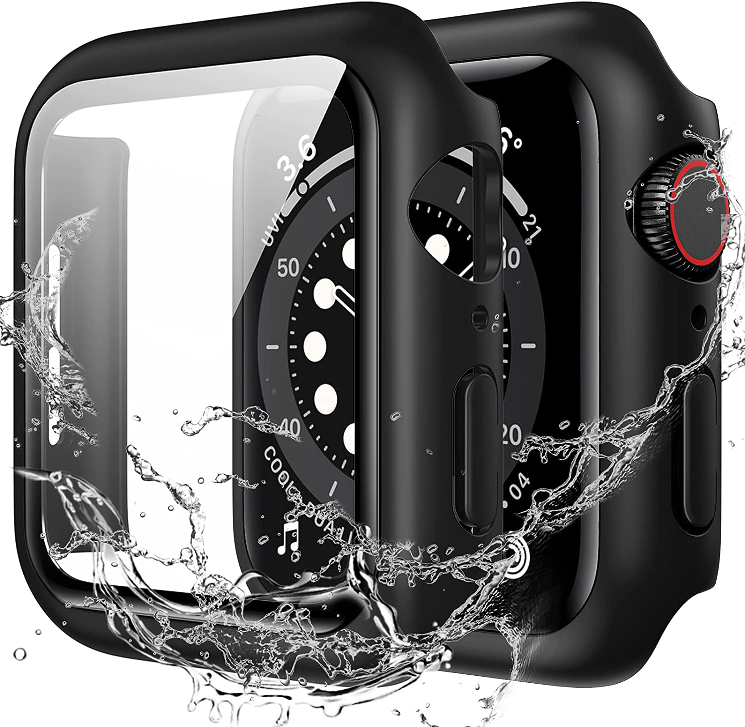Goton Waterproof Case Compatible with Apple Watch SE Series 6/5/4 40mm with Tempered Glass Screen Protector, All Around Protective Hard PC Cover for iWatch Accessories - Black