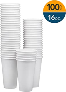 NYHI 100-Pack 16 oz White Paper Disposable Cups – Hot/Cold Beverage Drinking Cup for Water, Juice, Coffee or Tea – Ideal for Water Coolers, Party, or Coffee On the Go'