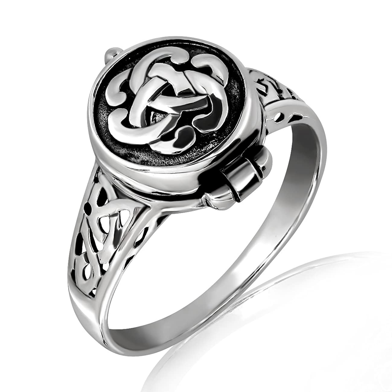 WithLoveSilver 925 Sterling Silver Round Irish Celtic Knot Poison Locket Ring