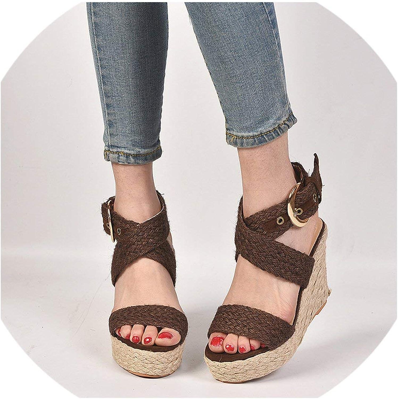 April With You 2019 Wedges shoes for Women Vintage Sandals Plus Size 43 Summer shoes Flip Flop Straw Sandals