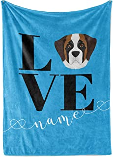 Love My Saint Bernard Custom Name Fleece Throw Blanket - Personalized Lightweight Snuggly Blankets for Dogs Dog Lovers Mom Dad Kids Family Time