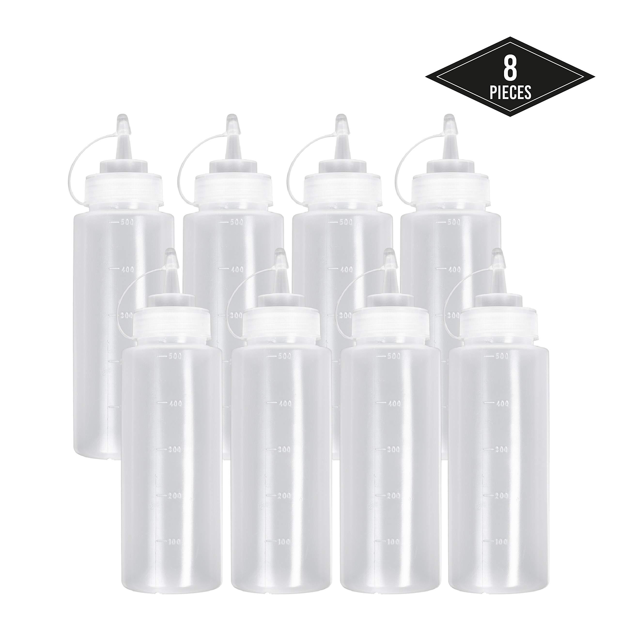 8 Pack Biberon Salsas con Tapas de Rosca, 500ml - Dispensador de Botellas de Plástico para Condimentos Ketchup Mostaza Vinagre Salsa Aceite - a Prueba de Fugas y Libre de BPA.: Amazon.es: Hogar