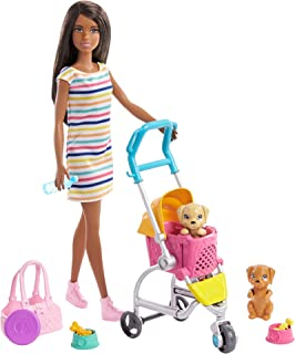 Barbie Stroll 'n Play Pups Playset with Brunette Doll...