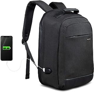 Mochila para portátil ROYALZ Business con USB para Hombre Compartimiento 15,6 Pulgadas con Apertura de 180 Grados y Cremallera Oculta, Color:Negro