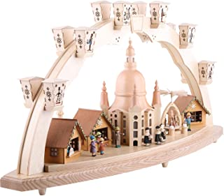 Richard Glässer Seiffen German Candle Arch, Frauenkirche Dresden with Pyramid, Length 80 cm / 32 inch, Natural, electrical...