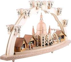 Richard Glässer Seiffen German Candle Arch, Frauenkirche Dresden with Pyramid, Length 80 cm / 32 inch, Natural, electrical...