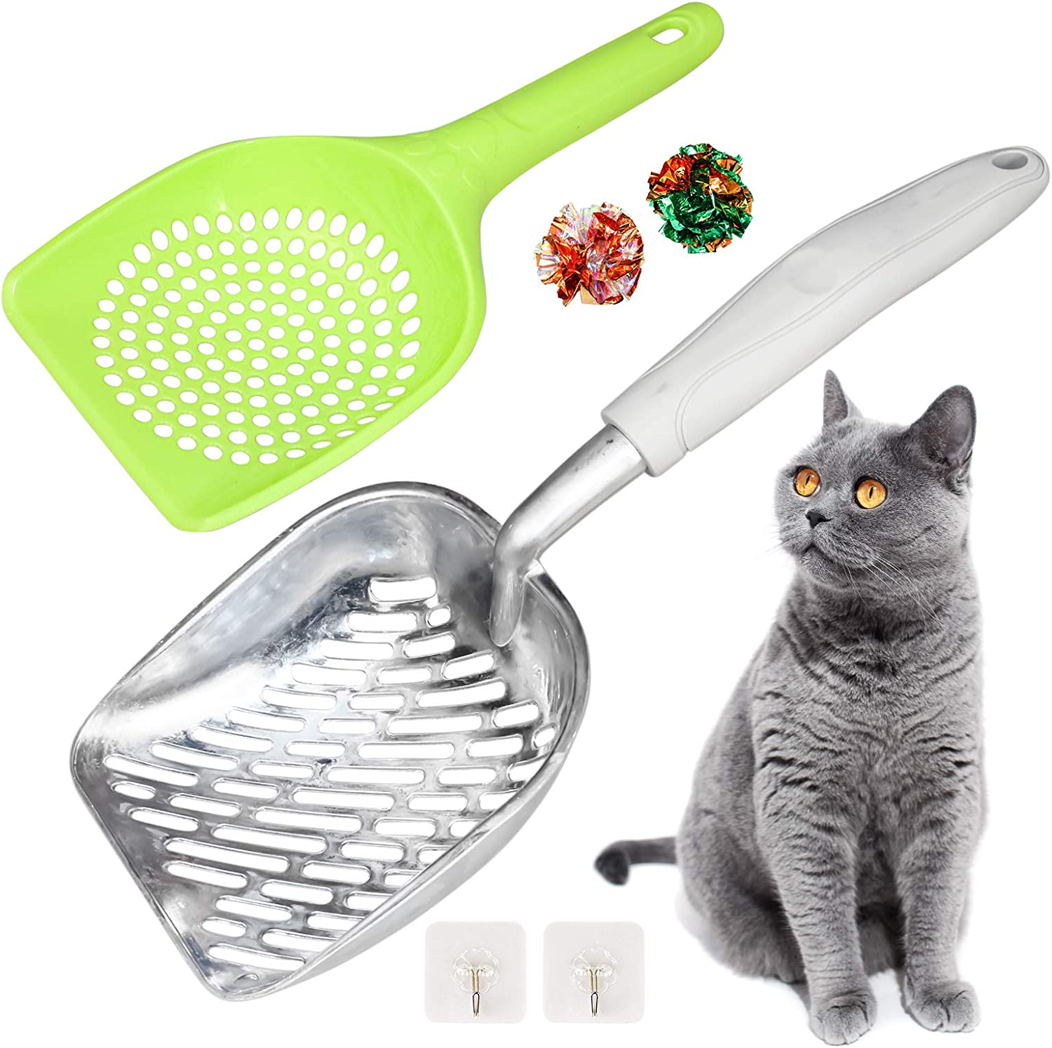 Cat Litter Scoop Kitty Metal 2021new shipping free shipping Scooper Silicone Handle Alumin Topics on TV Long