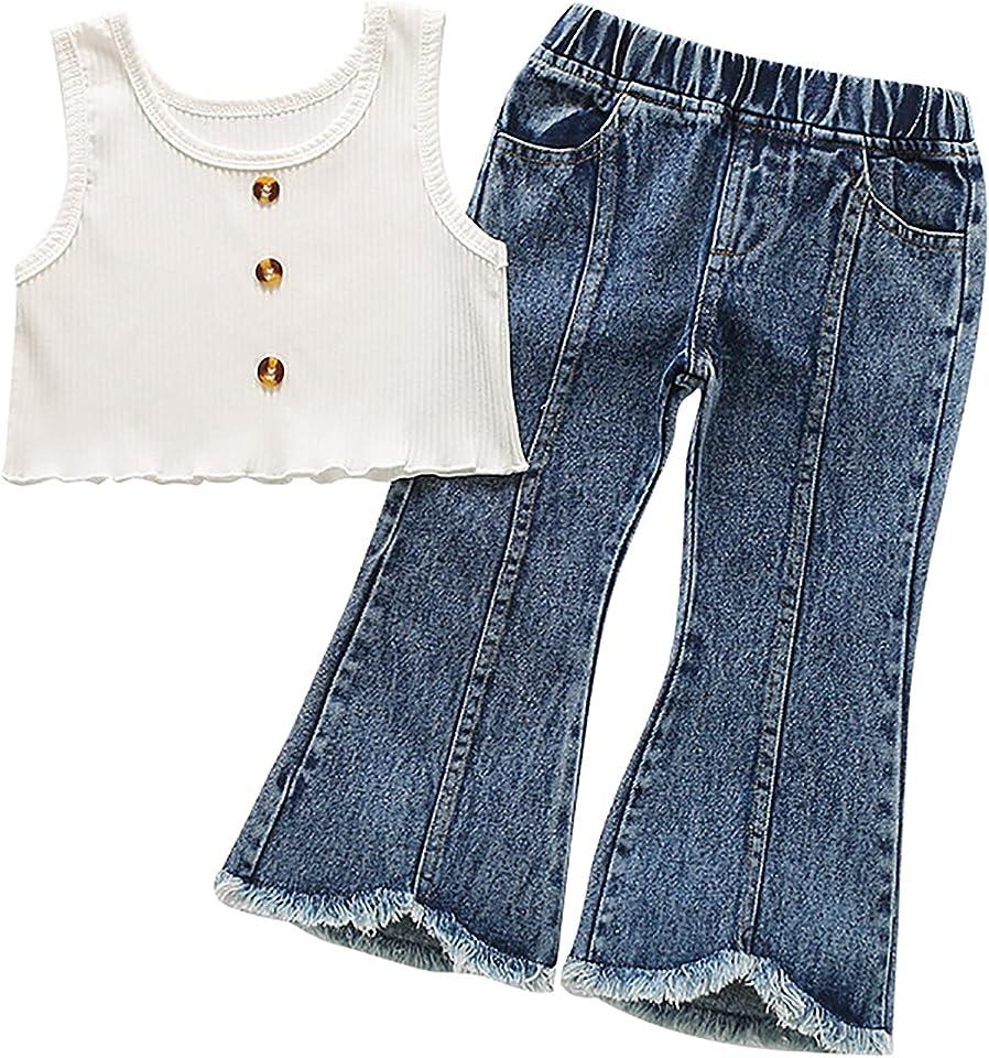 2 Stücke Mädchen Kleidung Set Kinder Sommer bOutfits Set Kurzarm T-Shirt Tops mit Hosen Set Kinder Bekleidungsset mädchen Gr.86-164