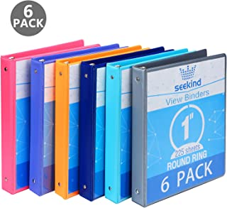 """1 Inch 3 Ring Binders,SEEKIND View Binders,Holds Up to 8.5""""11"""" Paper,Customizable Clear Cover,for Home,Office, and School Supply,6 Pack"""