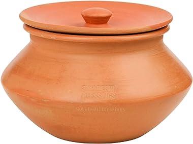 Swadeshi Blessings Exclusive Range Unglazed Earthen Handi/Mitti Ke Bartan/Mud Handi/Clay Pot with Lid for Serving & Table