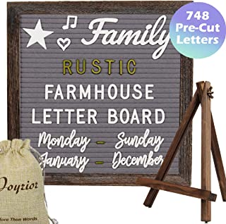 Brown Frame Farmhouse Rustic Gray Felt Letter Board 10x10 Inches with Stand Easel + 748 Pre-cut Letters + 11 Cursive Words Shabby Chic Wood Changeable Message Board with Letters (White and Metal Gold)
