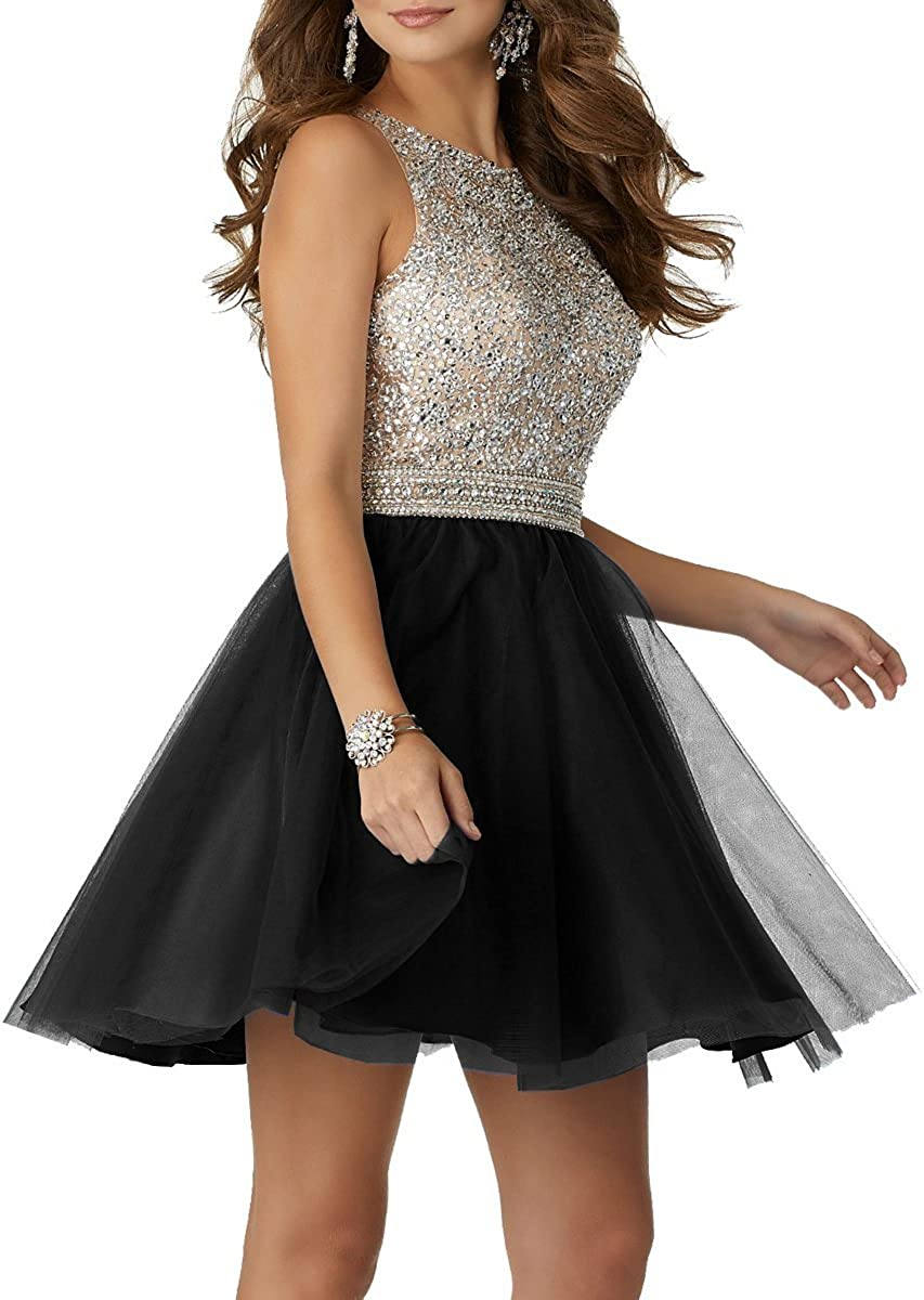 Ladsen Women's Homecoming Beading Open Back Tulle Prom Gowns