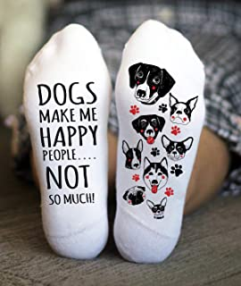 Dogs Make Me Happy Socks Women's Funny Sayings Gift One Size