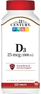 21st Century D3 1000 IU Tablets, 500 Count