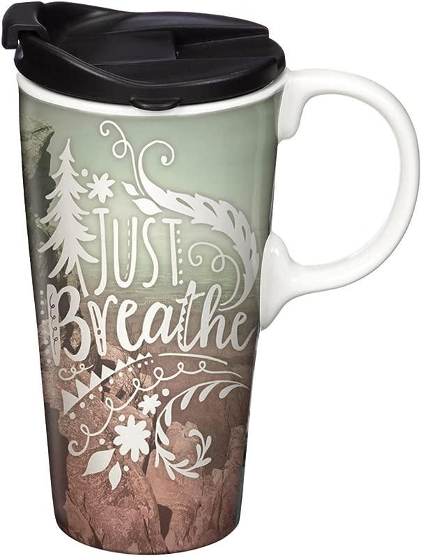 Breathe 17 OZ Ceramic Travel Cup 4 X 5 X 7 Inches