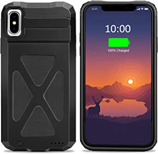 XchuangX Battery Case for iPhone X / 10, 4000mAh Rechargeable Protective Charging Case Slim for Apple iPhone 10 / X (5.8 inch), Support All Types Headphones, Answer Call and Sync-Through-Black