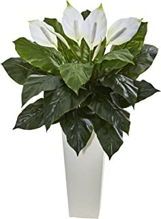 Nearly Natural Artificial 3' Spathiphyllum Plant in White Tower Planter, Green