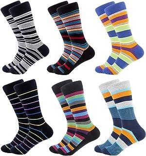 6 pares de calcetines de vestir para hombre, coloridos, divertidos, de algodón de lujo, con estampado, casuales