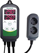 Inkbird ITC-308 Prise Thermostat Chauffage Refroidissement Regulateur de Temperature,Thermostat Numerique Thermostat Terrarium avec Sonde 2 Relais 220V pour Reptiles,Couveuse,Brassage(ITC-308)