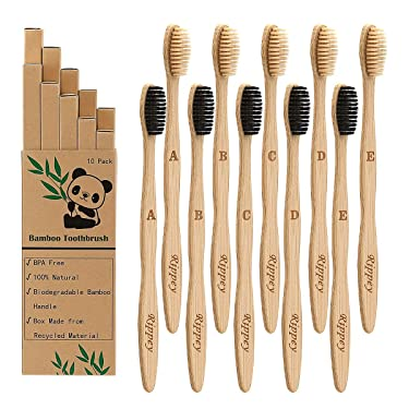 Biodegradable Bamboo Toothbrushes 10 Pack, BPA Free Soft Bristles Toothbrushes, Natural, Eco-Friendly, Green and Compostable