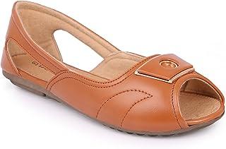 YAHE Women's Casual/Formal Faux Leather Ballerina/Belly/Ballet Flat Open Toe Shoes Y-2276