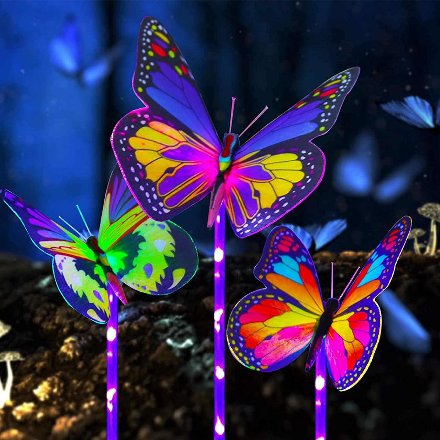 3 Pack Solar Butterfly Lights Outdoor Garden- Waterproof Light Sensor Wireless Multi-Color Changing LED Solar Lights Powered Decoration Lights for Yard Patio Lawn Decor