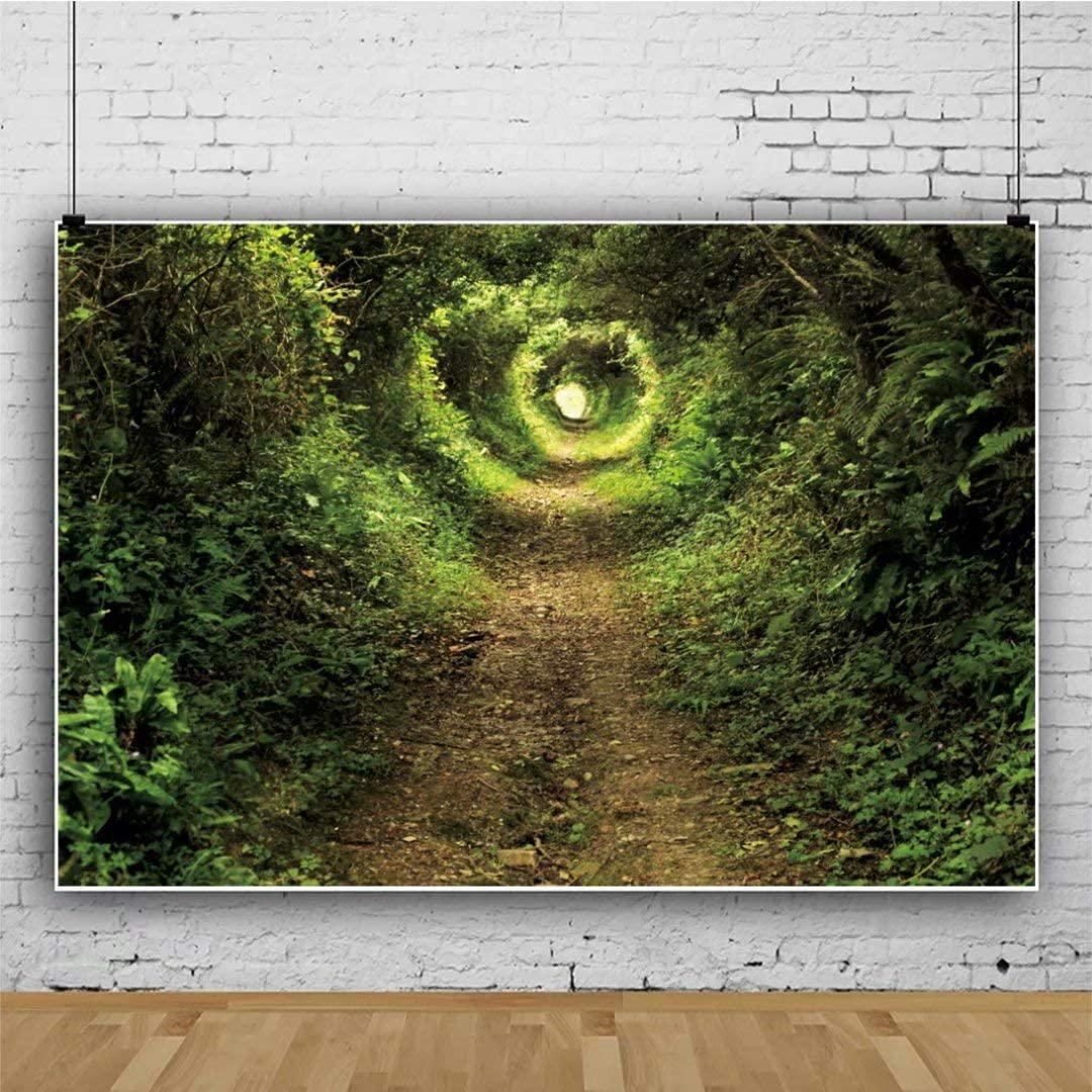 DaShan 14x10ft Spring Forest Tree Road Jungle Backdrop Sunshine Green Grassland Nature Outdoor Newborn Wall Decor Photography Background Nature Spring Wedding Birthday Kids Adults Photo Props