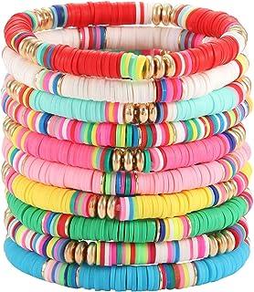 Boderier Heishi Beaded Bracelets for Women Colorful Rainbow Vinyl Disc Bead Stretch Bracelet Stackable Summer Beach Surfer...