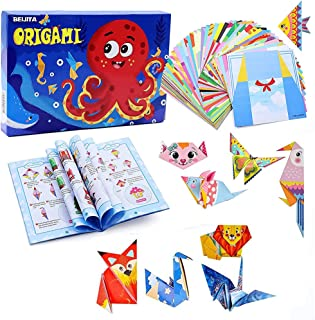 Beauenty Colorful Kids Origami Kit 152 Double Sided Vivid Origami Papers 72 Origami Projects Origami for Kids Adults Begin...