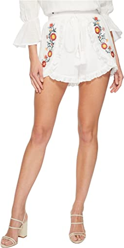 Embroidered Shorts with Waist Tie
