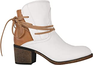 Huiyuzhi Womens Ankle Boots Stacked Heels Tie Up Western Cowboy Distressed Boot