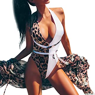 One Piece Bodysuit Bikini Women Deep V Neck Leopard Swimsuit Beachwear