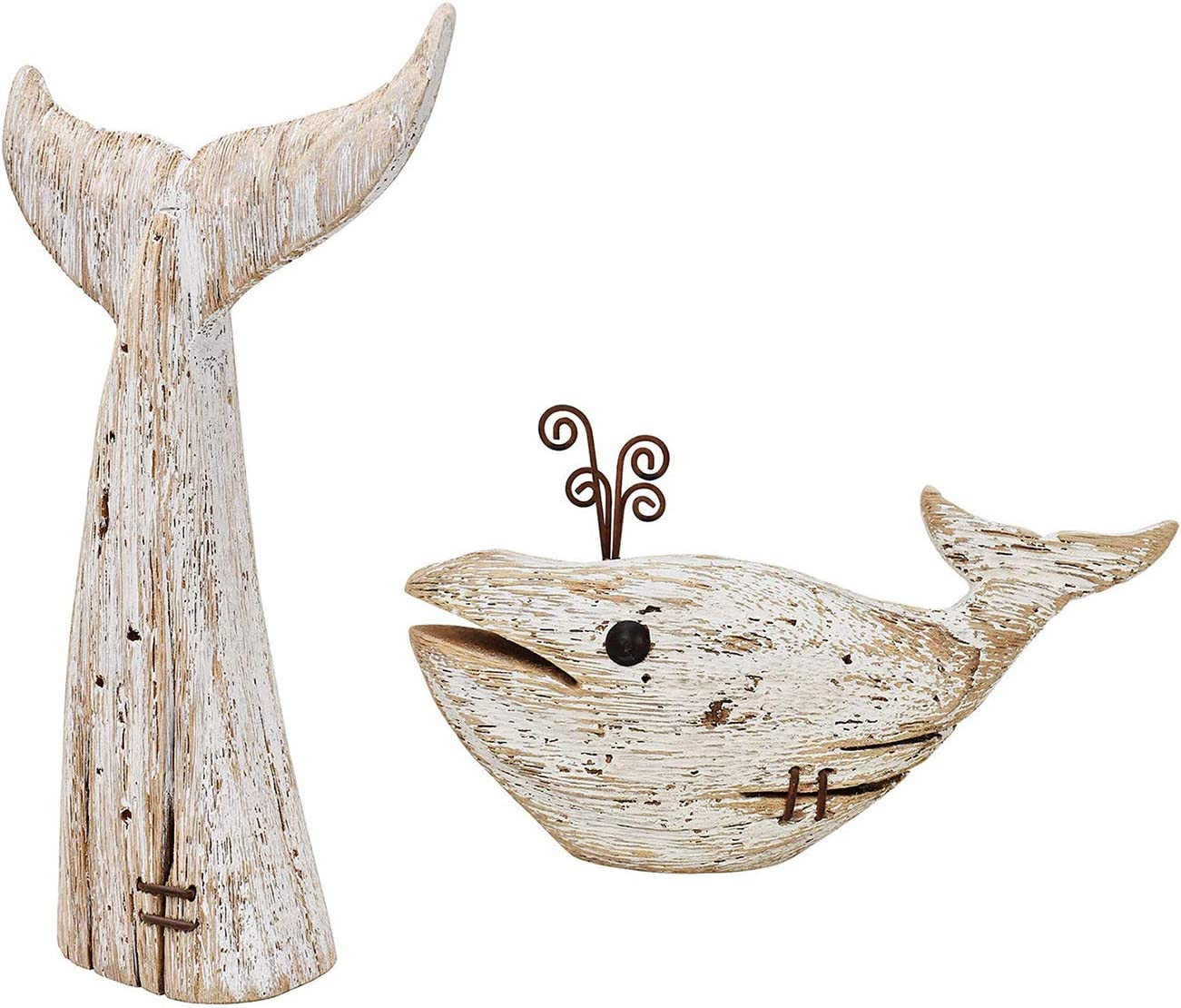 Wood Whale Statue Nautical 最安値挑戦 迅速な対応で商品をお届け致します Tabletop Rustic Fi Animal Decor