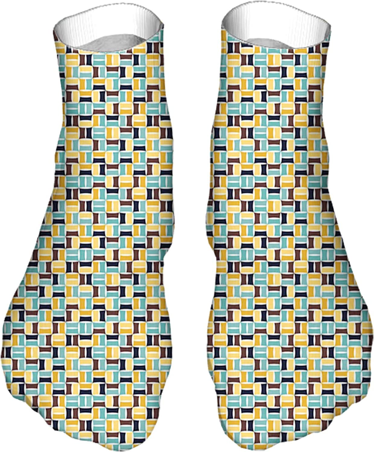 Men's and Women's Fun Socks Printed Cool Novelty Funny Socks,Contemporary and Retro Style Combined Geometrical Fashionab