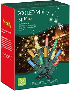 hykolity 200-Count LED Christmas Light, 69.6ft, Multicolor, Connect Up to 22 Sets, Indoor String Light for Christmas/Halloween/Wedding, UL Listed